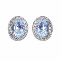 Oval Blue Topaz 925 Sterling Silver Women Jewelry Stud Earring SHER0325 - $28.30