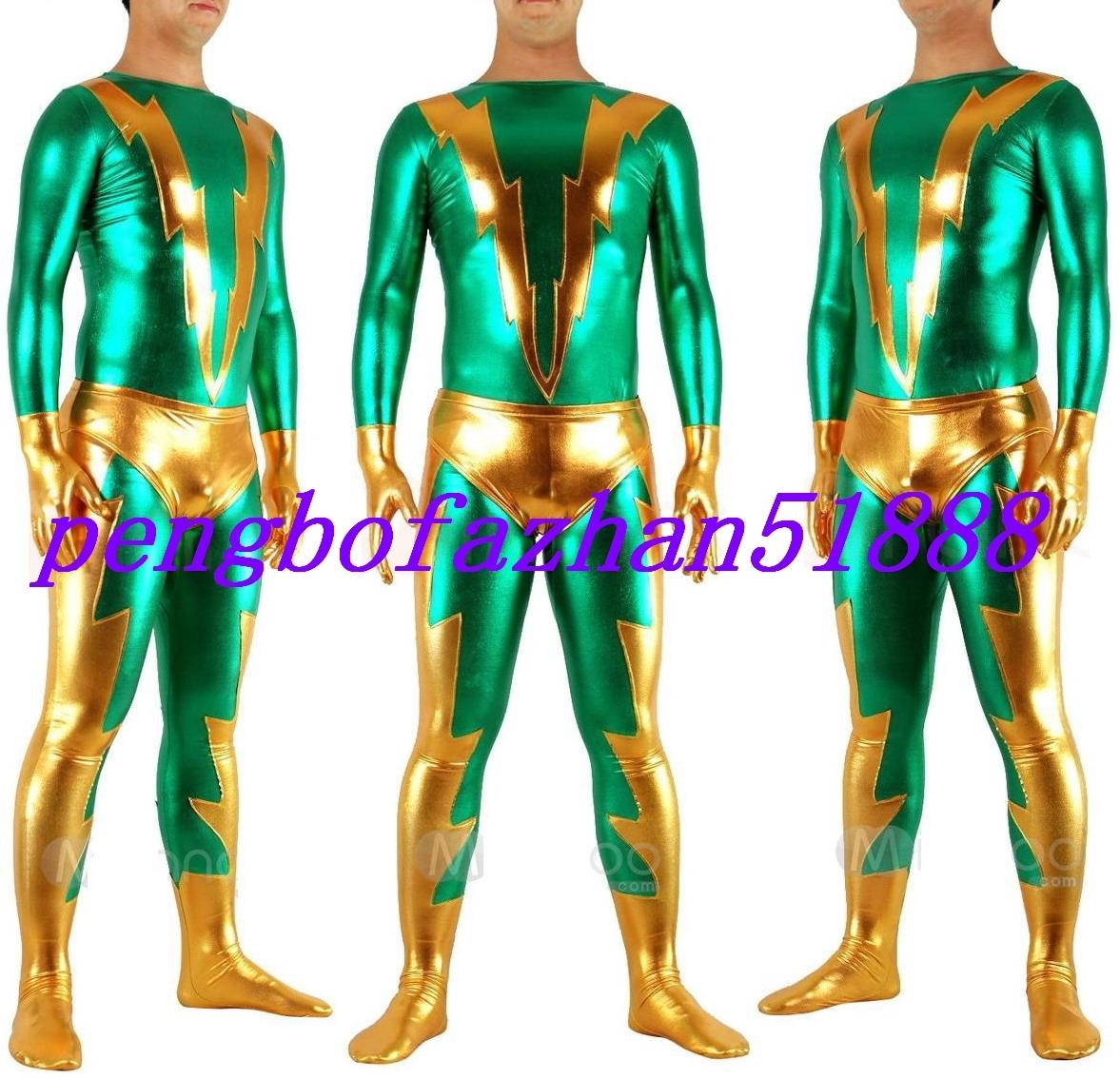 HALLOWEEN COSPLAY SUIT GREEN/GOLD SHINY METALLIC FLASH SUIT CATSUIT COSTUME S461 - $45.99