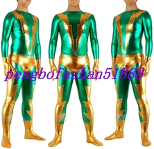 HALLOWEEN COSPLAY SUIT GREEN/GOLD SHINY METALLIC FLASH SUIT CATSUIT COST... - $45.99