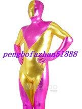HOT PINK/GOLD SHINY METALLIC SUPERHERO SUIT CATSUIT COSTUMES HALLOWEEN S... - $45.99