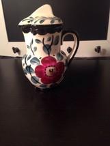 Vtg hand painted Erphila art Pottery creamer With Lid Czechoslovakia - $6.28