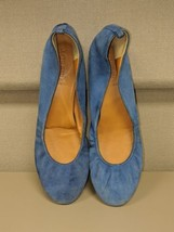 Womens J Crew Aubrey Blue Suede Shoes Ballet Flats SZ 8 M Italian Leather  - $19.79