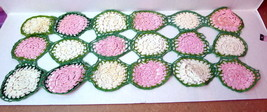 crocheted doilie flowers pink white vintage runner 18 circles - $7.43