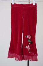 The Childrens Place 24 Months Red Velour Pants 3D Rose Detail Holiday Dr... - $6.83