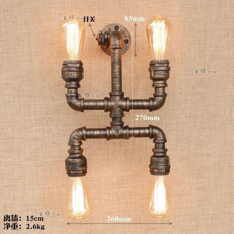 Steampunk Antique Bronze Pipe Sconce 4 E27 Light Wall Lamp Home Lighting Fixture