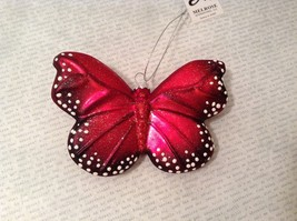Holiday glass ornament Christmas Colorful Red Butterfly 3 inches tall
