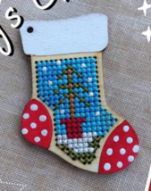 Stocking Wooden Stitchable Kit cross stitch kit Romy's Creations  - $14.00