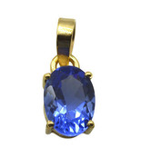 Riyogems A Blue Sapphire Cz Copper 18kt Gold Plated Tiny Pendant L 1.25in Gppbsc - $3.95