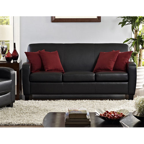 ... Leather Sofa Living Room Furniture Thick Padded Seat Cushions Comfort