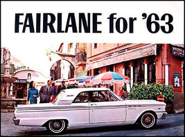 1963 Ford Fairlane ORIGINAL Brochure, 500 Sports Coupe Sedan Wagon, 63 - $18.88