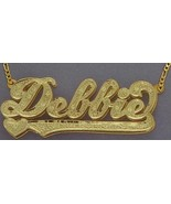 Personalized Gold Overlay Double 3d Name Plate Necklace Free Chain /b6 - $39.99