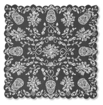Heritage Lace Sugar Skull & Roses Fine-Gauge Pewter Lace 58x58 Square Ta... - $27.99