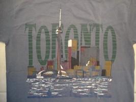 Vintage Toronto Canada Skyscraper Souvenir City Blue Cotton T Shirt Size L - $17.81