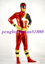 Halloween Suit Red/Gold/Black Shiny Metallic Superhero Suit Catsuit Costume S525 - $45.99
