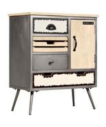 vidaXL Solid Mango Wood Sideboard Steel Rustic Storage Cabinet Side Table - $220.99