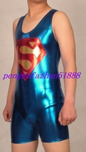HALLOWEEN SUIT BLUE SHINY METALLIC SHORT SUPERHERO SUPERMAN SUIT COSTUME... - $35.99
