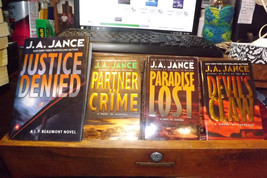 4 JA Jance novels: Justice Denied, Crime Partners, Paradise Lost, Devil'... - $18.18