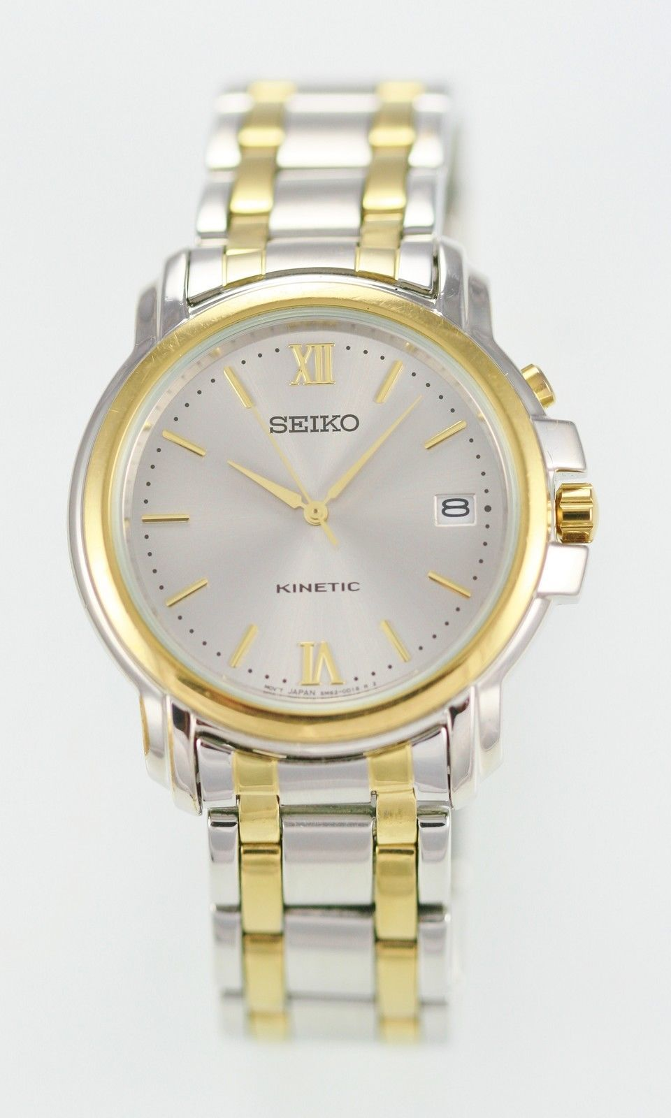 Seiko Kinetic Men's Silver Gold Stainless Steel Casual Easy Read Date Watch