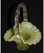 "1940s Fenton Art Glass Vaseline Topaz Opalescent Hobnail Basket 6.5"" High - $99.99"