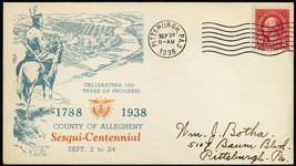 Allegheny Sesqui-Centennial Indian on Horse 1938 Advertising Cover - Stu... - $45.00