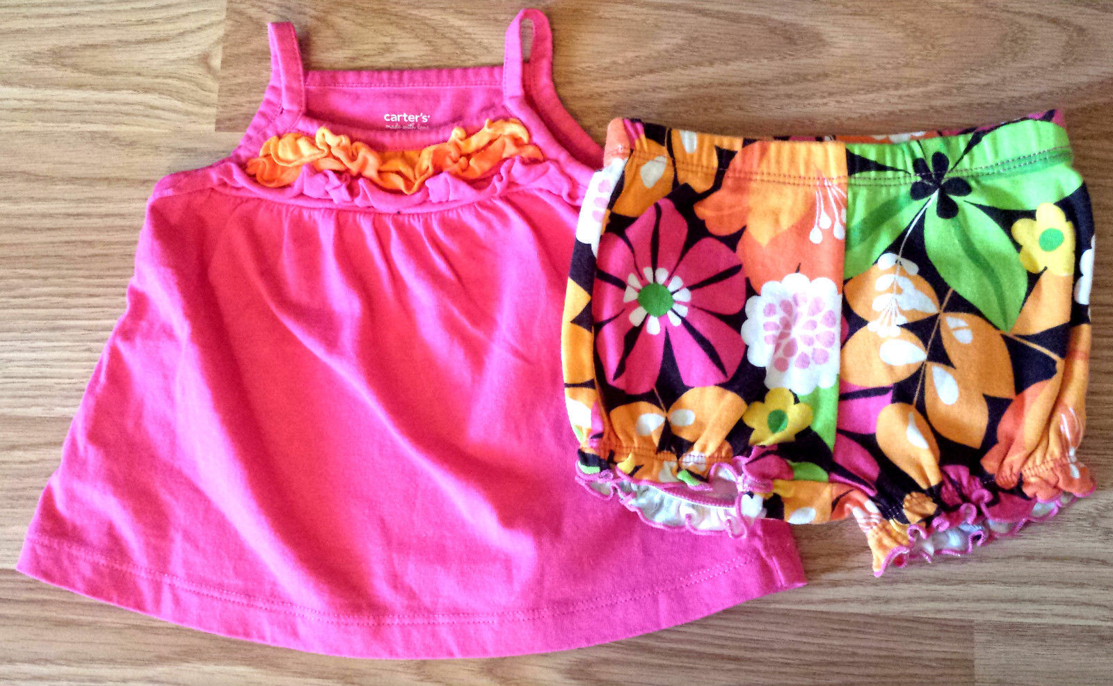 Girl's Sz 3 M Months 2 Pc Carter's Bright Pink Ruffled Tank Top, Bloomer Shorts