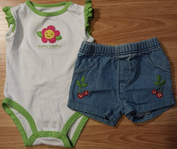 Girl's Size 6 M 3-6 Months 2 Piece Mommy Loves Me Carter's Top, FP Cherry Shorts - $15.60