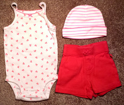 Girl's Size 0-3 M Months 3 Pc White/ Pink Cherry Carter's Tank Top, Gap Shorts + - $16.00