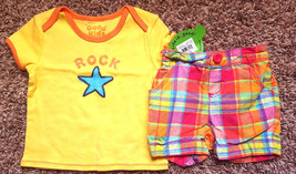 Girl's Size 18 M 12-18 Months Two Pc Yellow NWT Star Top & Bright Plaid ... - $16.00