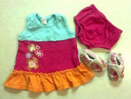 Girl's Size NB Newborn 3 Piece Dress Set Bright Dress Bottoms Slippers C... - $15.75