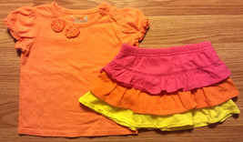 Girl's Size 12 M 9-12 Months Two Piece J Beans Orange Floral Top & Skirt... - $15.50