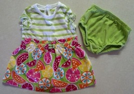 Girl's Size NB Newborn Two Piece Circo Set Green Fruit Designed Dress & ... - $15.60