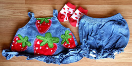 Girl's Size 0-3 M Months Two Piece Denim Strawberry Embroidered Dress, B... - $16.00