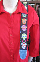 Ukulele/Mandolin/Guitar Strap/Romantic Gothic/Hearts And Skulls/Handmade - $29.00
