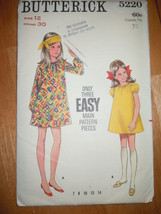Vintage Butterick Girls Size 12 Dress Pattern #5220 Uncut - $8.99