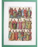 COSTUME Middle Ages Slavs Asia Mongols Sarmats Priest - COLOR Antique Print - $17.55