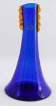 MWT Blenko Handcraft Cobalt Blue Glass Freeform Modern Vase w/ Yellow Accent - $71.23