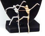 Large Vtg Pair of Abstract MODERNIST DANCERS Brooch Pin in Silver and Gold tone