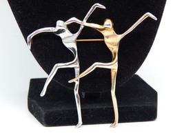 Large Vtg Pair of Abstract MODERNIST DANCERS Brooch Pin in Silver and Go... - £34.72 GBP