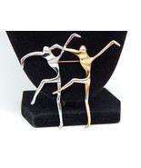 Large Vtg Pair of Abstract MODERNIST DANCERS Brooch Pin in Silver and Gold tone - $45.00