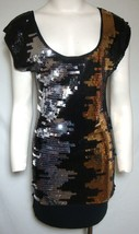 BCBG Sequin Mini Dress Silver Gold Black Tunic Sleeveless MAXAZRIA Small... - $71.53