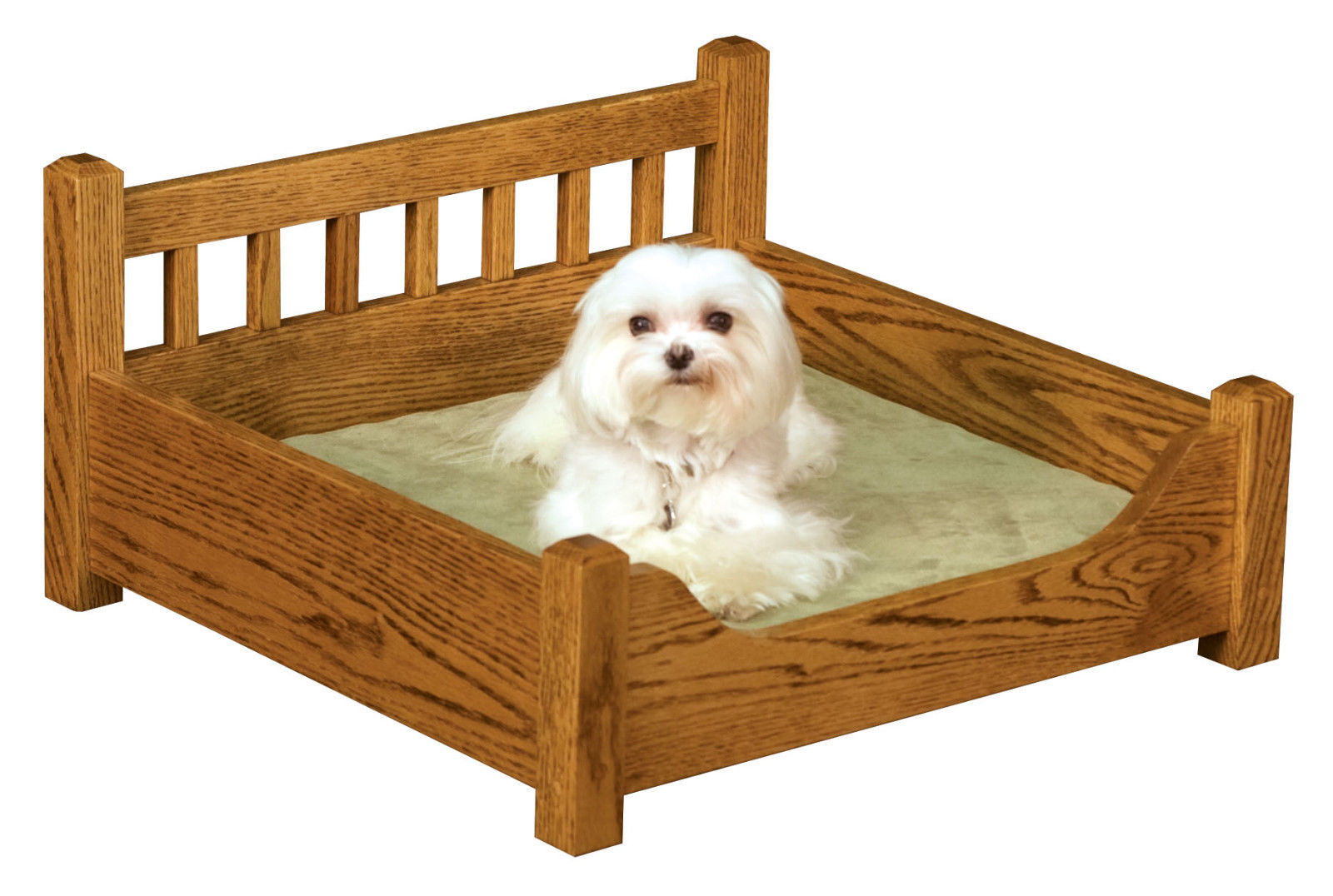 Luxury wood pet bed solid oak dog or cat royal furniture for Wood dog bed furniture