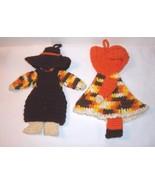 "Autumn Harvest Colors Boy Girl Crochet / Knit Yarn Figures 11"" Orange Brown - $18.80"