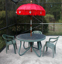 Umbrella Bali RED Two (2) ornamental Bali Indonesia approx 7' x 4' (one ... - $350.00