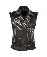 New Women Punk Rock Full Silver Studded Unique Style Vintage Biker Leath... - $249.99