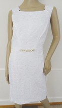 Nwt Ellen Tracy Jacquard Sheath Cocktail Party Dress Sz 8 White $118 - $59.35