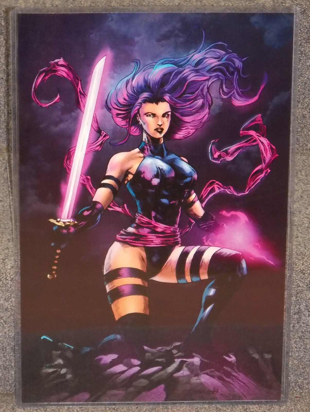 Primary image for Marvel Psylocke Glossy Print 11 x 17 In Hard Plastic Sleeve