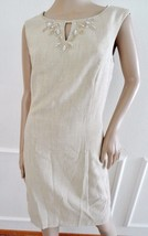 Nwt Ellen Tracy Beaded  Woven Sheath Cocktail Party Dress Sz 8 Khaki $118 - $59.35