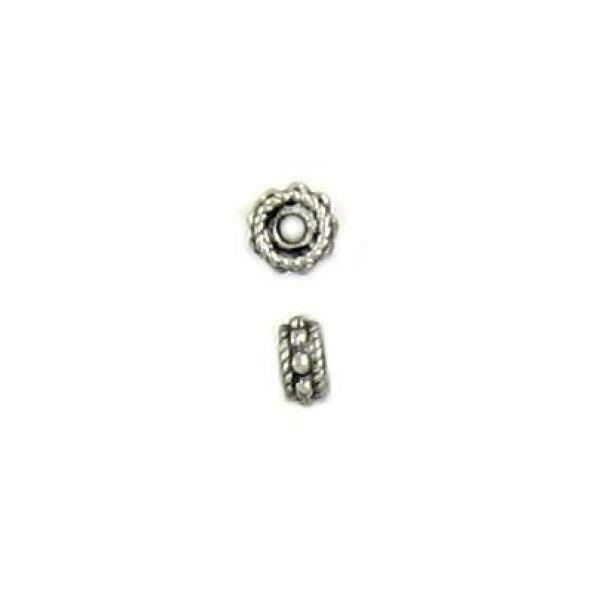 2pcs. Bumpy Pewter Cast Spacer Bead - 2x5x5mm; 1mm Hole