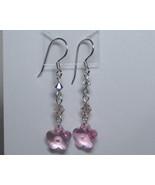 Pink Swarovski flower drop earrings - $12.00
