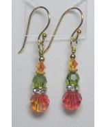 Fire and olivine swarovski drop earrings - $15.00